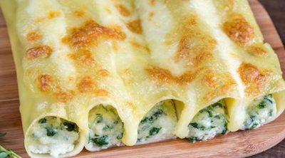 Canelones de queso y espinacas